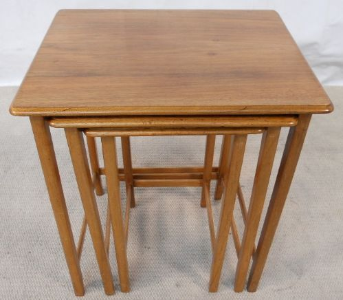 1960's Light Teak & Walnut Nest of Three Coffee Tables